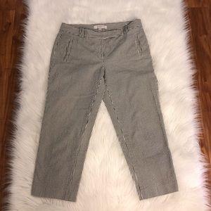 LOFT l Marisa Fit Gray Crop Seersucker Pants